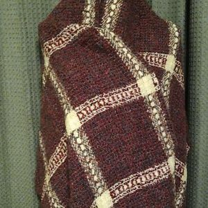 From Ireland burgandy and cream wool wrap. NWOT